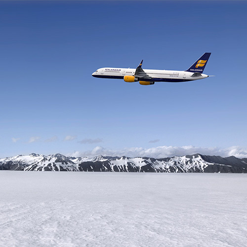 photo d'un avion de la compagnie islandaise island air en train de voler sur l'islande