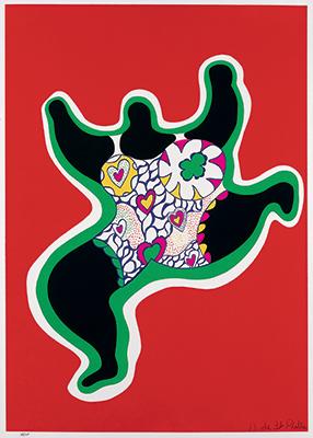 Leaping Nana. Planche de Nana Power 1970, sérigraphie sur papier vélin d'Arches, Sprengel Museum, Hanovre, donation de l'artiste en 2000, copyright ©Niki Charitable Art Foundation.
