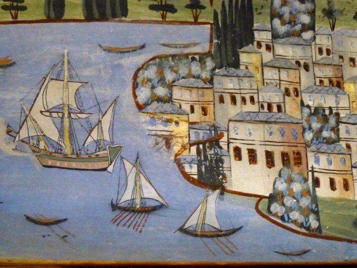 À Ambélakia, fresque des îles aux Princes près d'Istanbul © YH