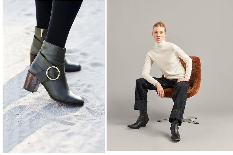 montage de deux images mode, l'une avec dezs boots femme noir, l'utre avec une femme en col roulé et jean assise sur un fauteuil