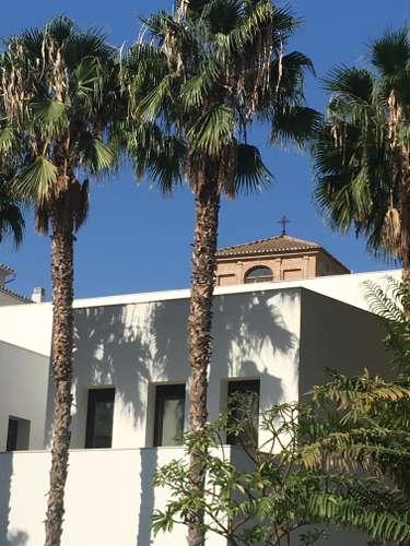 Photo d'une maison blanche avec devant des palmiers publiée sur le magazine les boomeuses