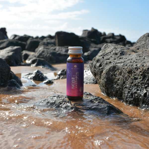 Photo d'une petite fiole posée sur des rochers au bord de la mer, publié dans le magazine les boomeuses