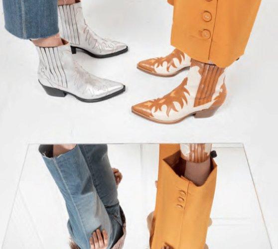 photos de deux paires de jambe sde femmes qui porte sdes boots au pied, les boomeuses