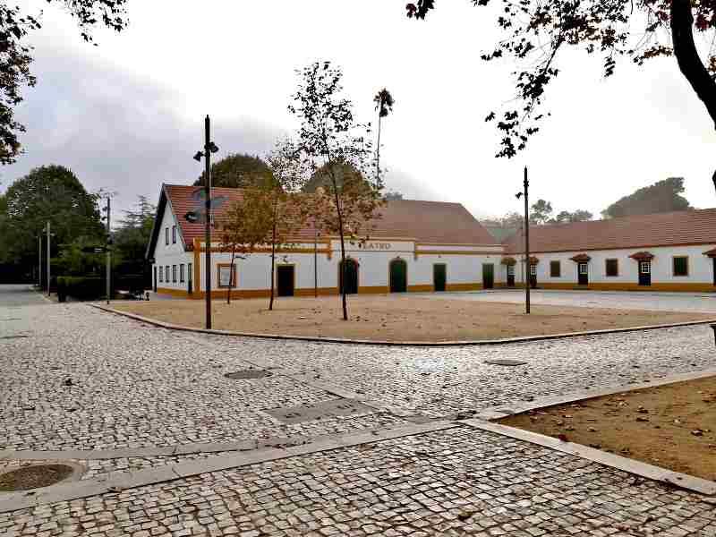 Photo d'une rue avec un bâtiment bas blanc au portugal, publiée dans les boomeuses