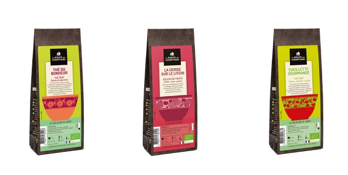 photo de trois paquet de thés de la route des comptoirs