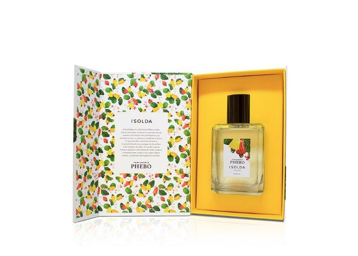 Boite fleuri avec à l'intérieur un flacon de parfum, publié dans le magazine les boomeuses