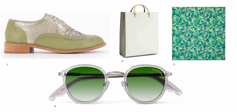 photo d'accessoires de mode a vec un sac, des chauusres, uun floulard et de slunettes de soleil, publié dans le magazien le sboomeuses