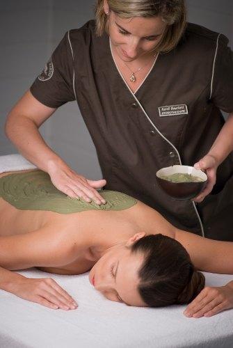 Femme en train d efair eun massage du dos avec de la boue verte