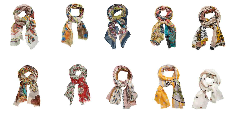 photos avec différentes écharpes imprimées