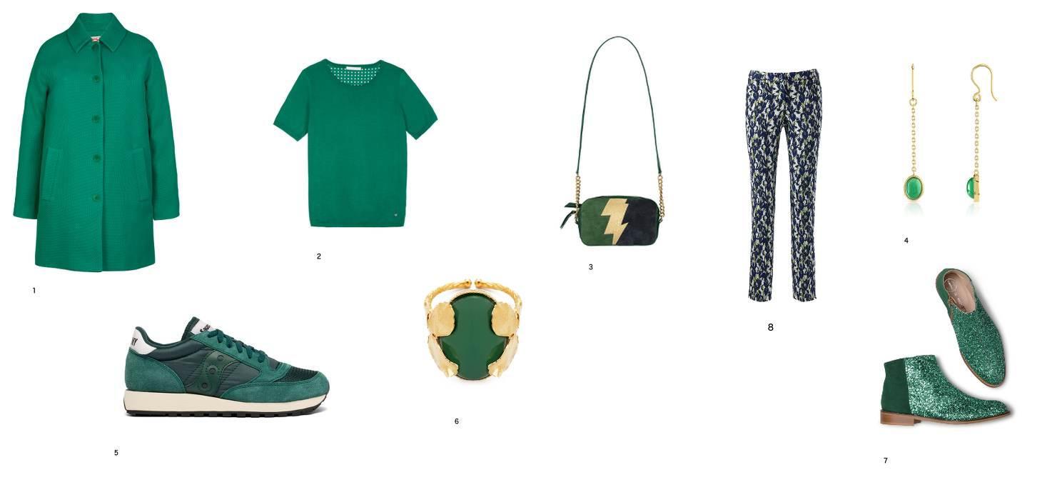 photo avec un manteau, un pull, des chaussures , un sac et des bijoux.Le tout vert pour un sujet mode