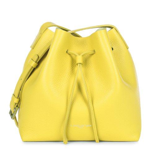 sac seau en cuir jaune