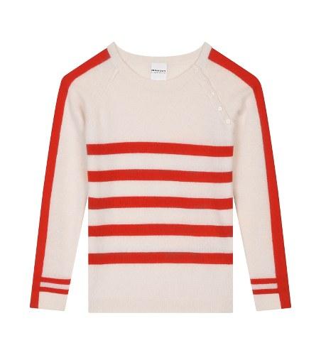 pull marinière couleur corail et blanc