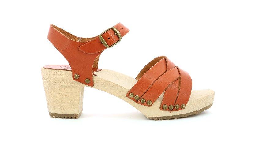 sandales en cuir corail
